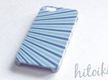 白木目×青系のマリンボーダー柄。オリジナルiPhoneケースデザイン。