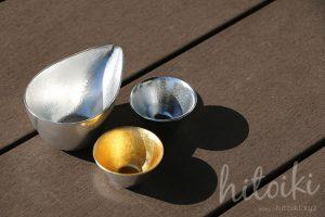 人気日本酒雑貨「能作」のぐい呑と片口(錫・金箔)