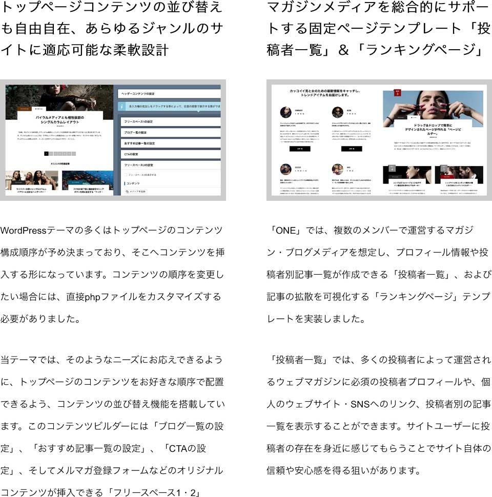 ONEは、ファン獲得&フォロワー獲得に徹底した個人・企業向けワンカラムデザインのブログ、マガジン系のWordPressテーマ wordpress_free_themes_tcd061_03
