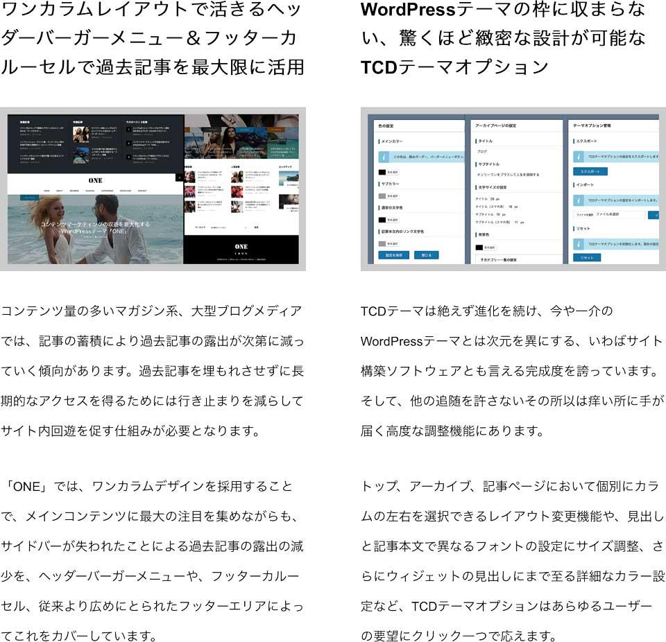 ONEは、ファン獲得&フォロワー獲得に徹底した個人・企業向けワンカラムデザインのブログ、マガジン系のWordPressテーマ wordpress_free_themes_tcd061_04