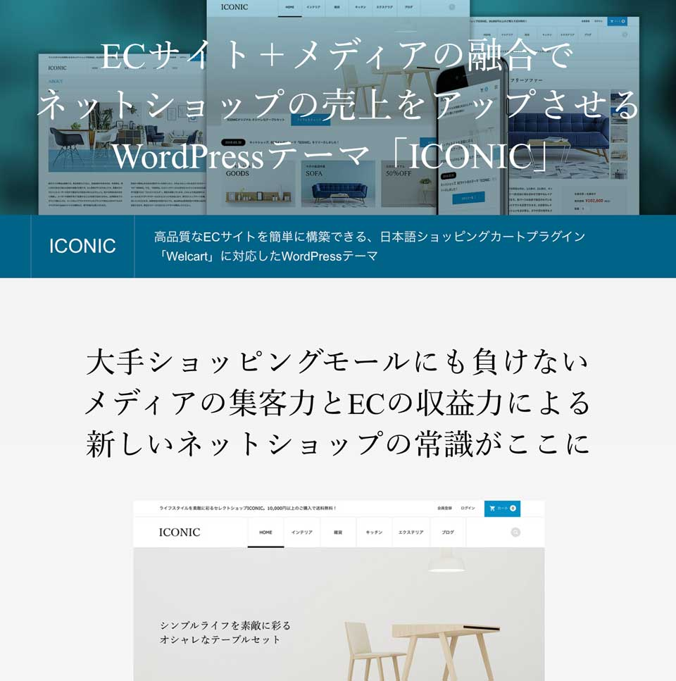 ICONICは、Welcart(ウェルカート)」に対応したテーマネットショップの売上をアップさせるWordpressテーマ wordpress_free_themes_tcd062_01