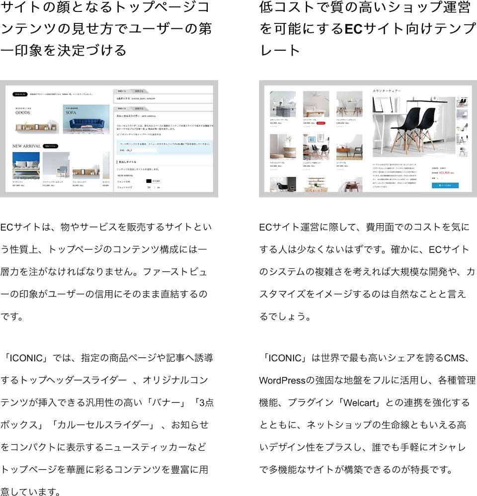 ICONICは、Welcart(ウェルカート)」に対応したテーマネットショップの売上をアップさせるWordpressテーマ wordpress_free_themes_tcd062_03