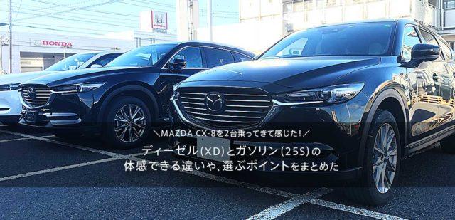 MAZDA CX-8を2台乗ってきて感じた!ディーゼル(XD)とガソリンNA(25S)の体感できる違いや、どっちを選べば失敗しない?マツダCX8の後悔しない選び方とは!?
