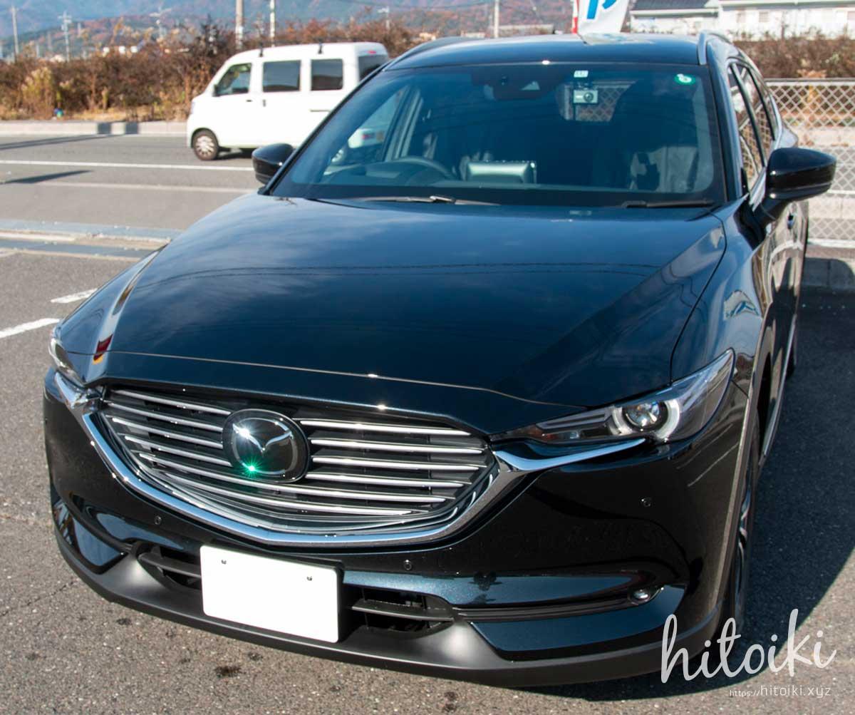 施工後 MAZDA CX-8の新車コーティングにクリスタルキーパーを施工。黒色の車(濃色車)でも、水垢と汚れ付着が大幅に減りメンテナンスが楽になったので効果を実感! mazdacx8_cx-8_keeperlabo_crystal_coating_img_3209
