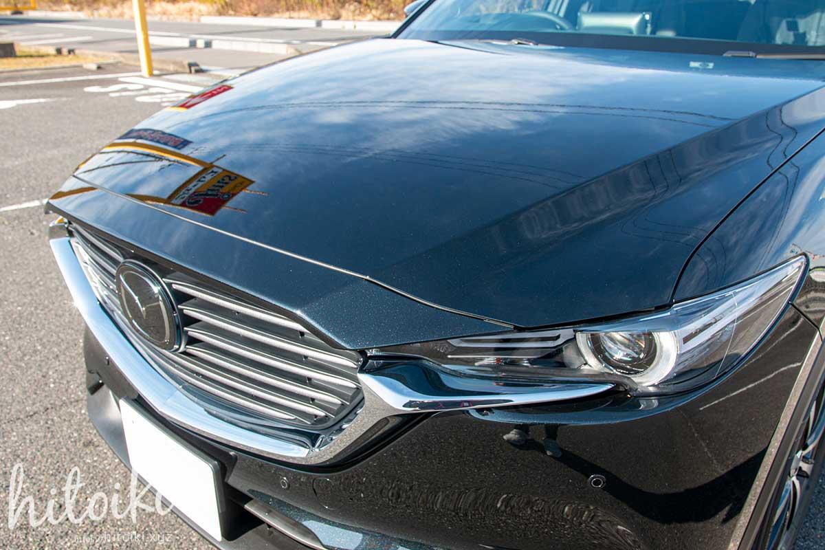 施工後 MAZDA CX-8の新車コーティングにクリスタルキーパーを施工。黒色の車(濃色車)でも、水垢と汚れ付着が大幅に減りメンテナンスが楽になったので効果を実感! mazdacx8_cx-8_keeperlabo_crystal_coating_img_3210
